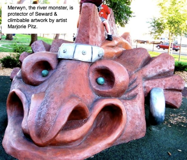 Picture of Merwyn the River Monster. This is a climbable statue in the Triangle Park.