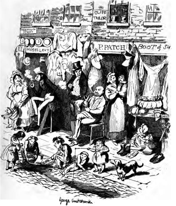 Engraving of a street sale from 1800s